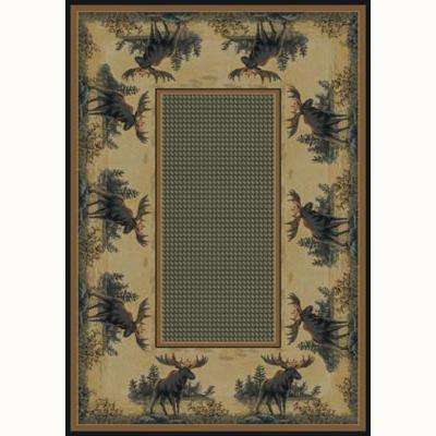 Northwood Beige 5 ft. 3 in. x 7 ft. 6 in. Contemporary Lodge Area Rug