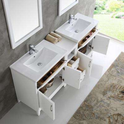Cambridge 72 in. Vanity in White with Porcelain Vanity Top in White with White Ceramic Basins and Mirror