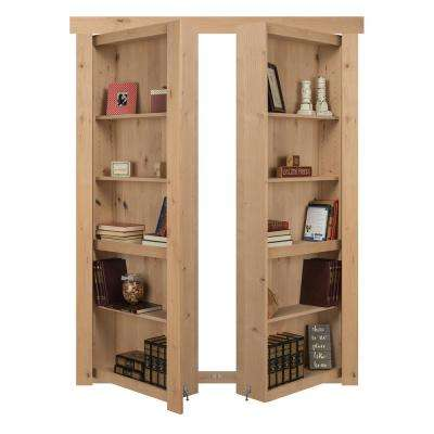 48 in. x 80 in. Flush Mount Assembled Alder Unfinished Out-Swing Solid Core Interior French Bookcase Door