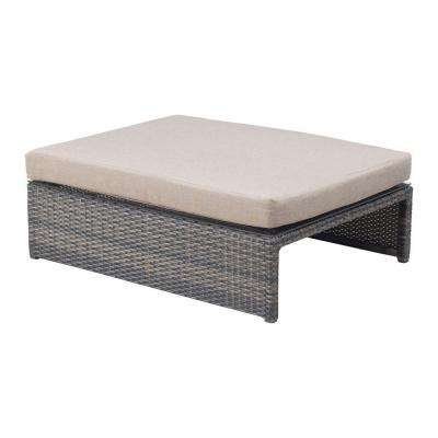 Espresso Delray Table Patio Ottoman with Beige Cushion