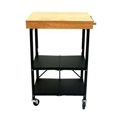 26 in. W Foldable Kitchen Cart in Black