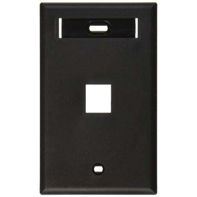 1-Gang Quickport Standard Size 1-Port Wallplate with ID Window, Black