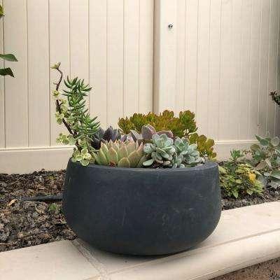 Medium 15.7 in. x 15.7 in. x 7.9 in. Granite Color Lightweight Concrete Modern Low Bowl Planter