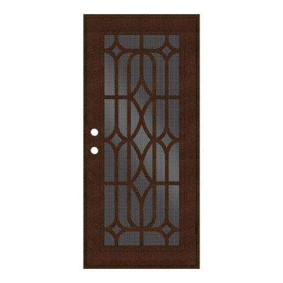 36 in. x 80 in. Essex Copperclad Right-Hand Surface Mount Security Door with Black Perforated Metal Screen