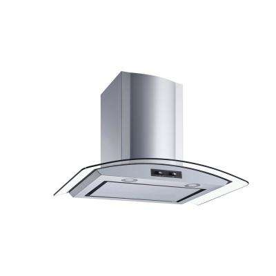 30 in. Convertible Stainless Steel Glass Wall Mount Range Hood with Mesh Filter and Stainless Steel Panel