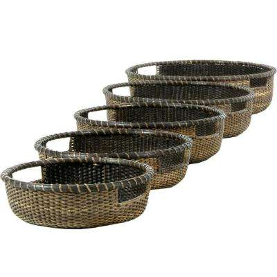 Oriental Furniture 17.75 in. x 5 in. Rattan Set of Five Low Basket Tray