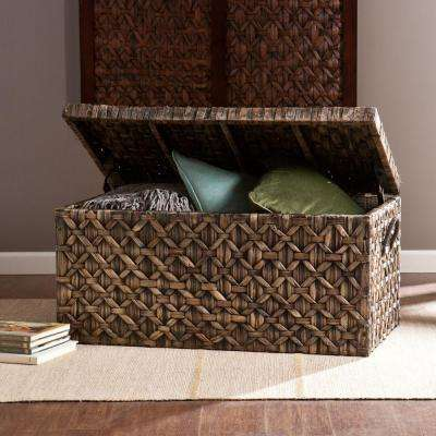Water Hyacinth Storage Trunk Rectangular Blackwashed Accent Table