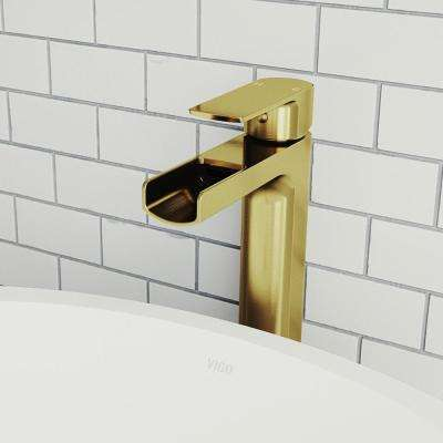 Amada Single Hole Single-Handle Vessel Bathroom Faucet in Matte Gold