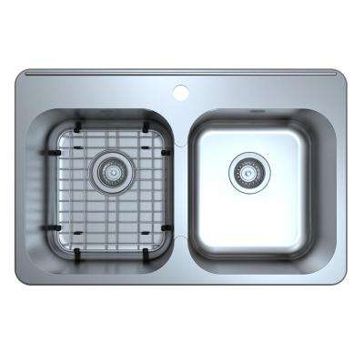 Capri Series Drop-In Stainless Steel 32 in. 3-Hole 50/50 Double Bowl Kitchen Sink with Grid and Strainers