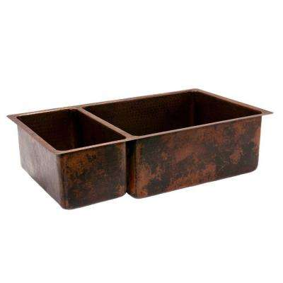Under Counter/Surface-Mount Hammered Copper 33 in. 0-Hole Double Bowl 25/75 Kitchen Sink in Oil Rubbed Bronze