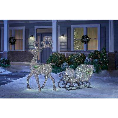 Meadow Frost 65 in. Christmas 160-Light Brown PVC Deer and 46 in. 120-Light Sleigh