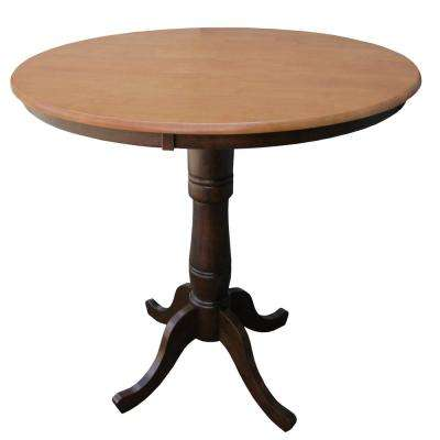 Solid Wood 36 in. Round 36 in. High Pedestal Table in Cinnamon and Espresso