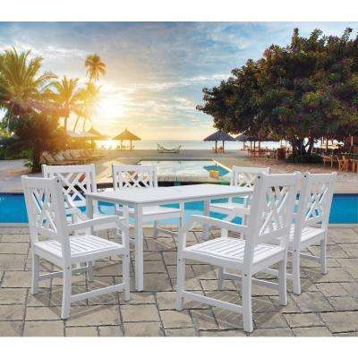 Bradley Acacia White 7-Piece Patio Dining Set with 32 in. W Table and Herringbone, Back Armchairs