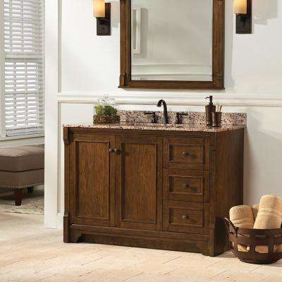 Creedmoor 49 in. W x 22 in. D Vanity in Walnut with Engineered Marble Vanity Top in Crema Limestone with White Sink