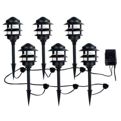 Low-Voltage Black Audio Path Light Kit with Bluetooth Technology (6-Pack)
