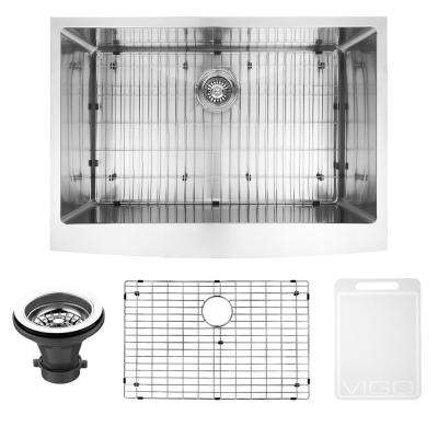 Undermount Farmhouse Apron Front Stainless Steel 30 in. Single Bowl Kitchen Sink with Grid and Strainer