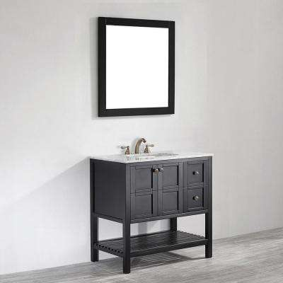 Florence 36 in. W x 22 in. D x 35 in. H Vanity in Espresso with Marble Vanity Top in White with Basin and Mirror