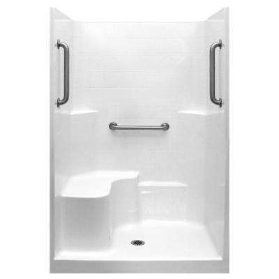 Classic 37 in. x 48 in. x 80 in. 1-Piece Low Threshold Shower Stall in White, Grab Bars, LHS Molded Seat, Center Drain