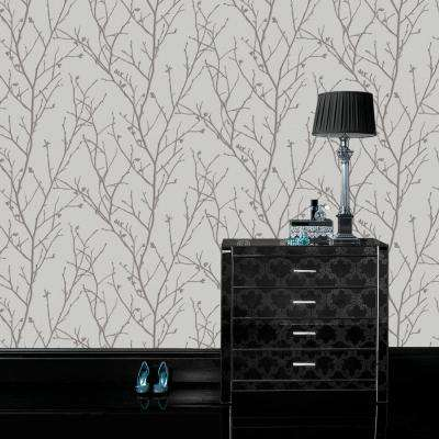 Evita Water Silk Sprig Silver Wallpaper Sample