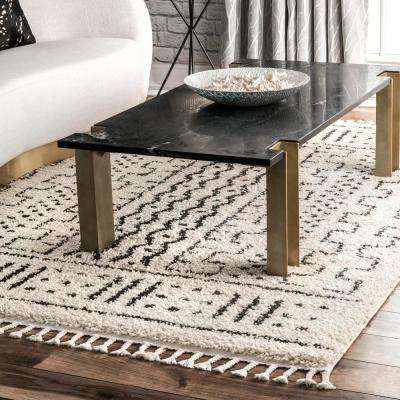 Nora Moroccan Demarche Shag Off White 5 ft. x 8 ft.  Area Rug