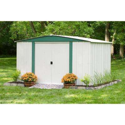 Hamlet 10 ft. W x 8 ft. D 2-Tone White Galvanized Metal Storage Shed with Floor Frame Kit