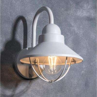 Coastal Mystic 1-Light White Outdoor Wall Mount Lantern