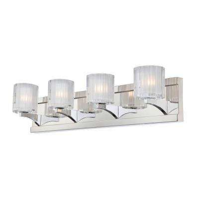 Tiara 4-Light Chrome Vanity Light with Slotted Clear Glass