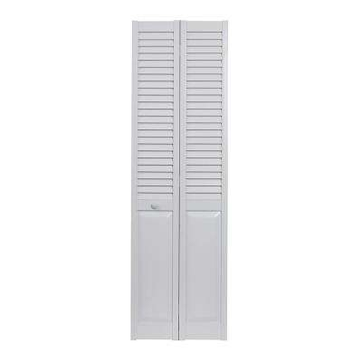 36 in. x 80 in. Louver Over Panel White Hollow Core PVC Vinyl Interior Bi-Fold Door
