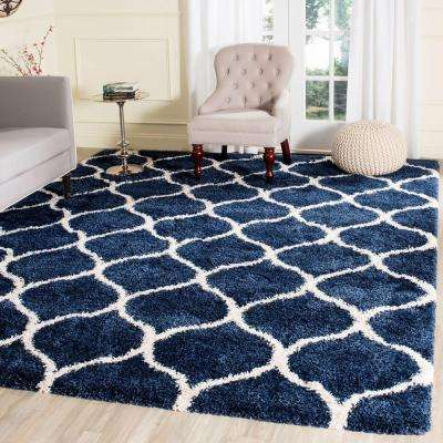 Hudson Shag Navy/Ivory 5 ft. 1 in. x 7 ft. 6 in. Area Rug