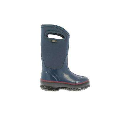 Classic High Handles Kids 10 in. Size 1 Navy Rubber with Neoprene Waterproof Boots