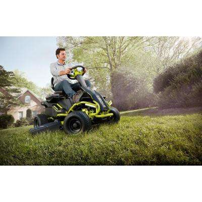 38 in. 100 Ah Battery Electric Rear Engine Riding Lawn Mower and Bagging Kit