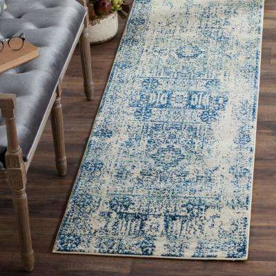 Evoke Ivory/Blue 2 ft. 2 in. x 19 ft. Runner Rug
