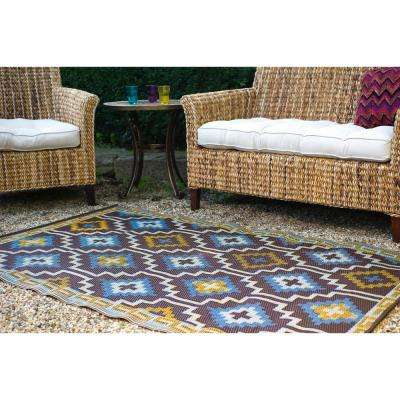 Lhasa Indoor/Outdoor Royal Blue and Chocolate Brown 3 ft. x 5 ft. Area Rug