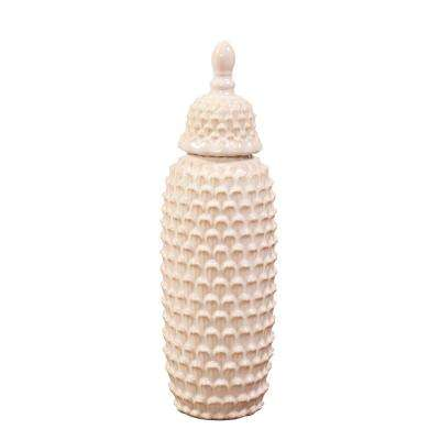 Short Textured Cream Ceramic Decorative Urn