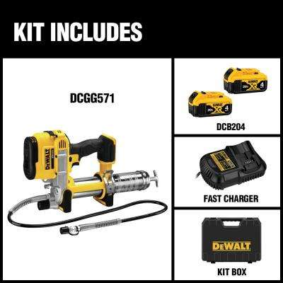 20-Volt MAX Lithium-Ion Cordless Grease Gun Kit with Battery 4Ah, Charger and Kit Box