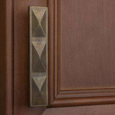 2-1/2 in. Center-to-Center Antique Brass Triple Pyramid Cabinet Pull (10-Pack)