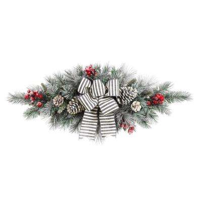 32in. Snowy Pine Swag with Pinecones Berries and Striped Bow