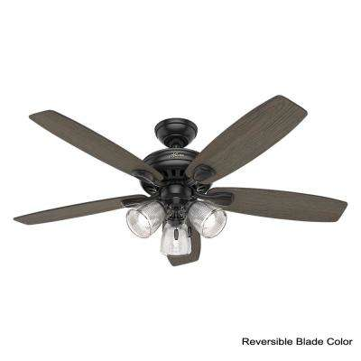 Highbury II 52 in. LED Indoor Matte Black Ceiling Fan with Light Kit and Bundled Handheld Remote Control