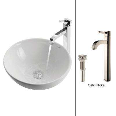 Soft Round Ceramic Vessel Sink in White with Ramus Faucet in Satin Nickel