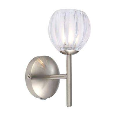 Lorcasa 1-Light Matte Nickel Wall Light