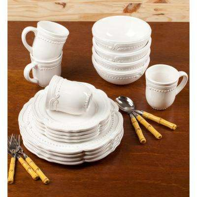 16-Piece Solid White Stone Dinnerware Set (Service for 4)