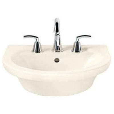 Tropic Petite 21 in. Center Pedestal Sink Basin with 8 in. Faucet Centers in Linen