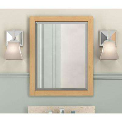 Tahiti 25 in. W x 22 in. D Vanity in Natural with Marble Vanity Top in Beige with White Basin and Mirror