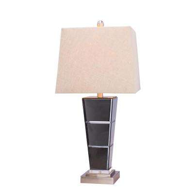 27.75 in. Metal and Glass Table Lamp in Brushed Steel