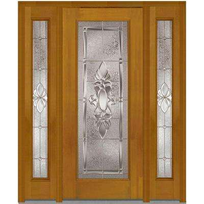 68.5 in. x 81.75 in. Heirloom Master Deco Glass Full Lite Finished Fiberglass Mahogany Exterior Door with Sidelites