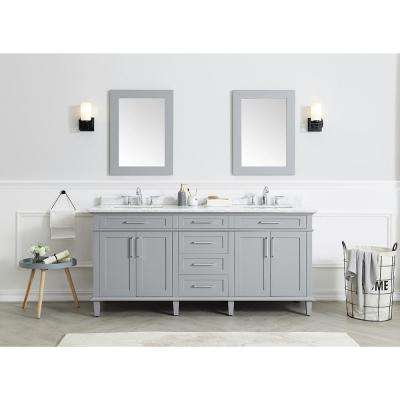 Sonoma 72 in. W x 22 in. D Bath Vanity in Pebble Grey with Carrara Marble Top with White Sinks