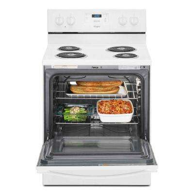 4.8 cu. ft. Freestanding Electric Range Oven in White, Counter Depth
