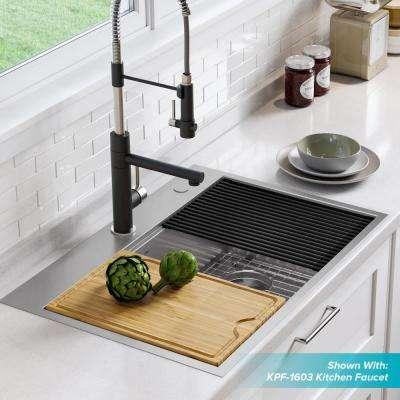 Kore Workstation Drop-In Stainless Steel 30 in. Single Bowl Kitchen Sink