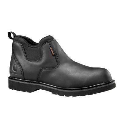 Men's Black Leather/Black Neoprene Ankle Waterproof Soft Toe Romeo Work Boot