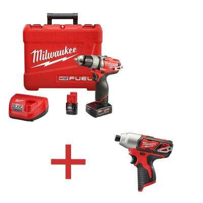 M12 FUEL 12-Volt Lithium-Ion Brushless 1/2 in. Drill/Driver Kit with Free M12 1/4 in. Hex Impact Driver